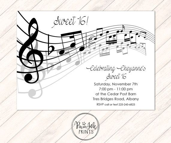 Gold Music Notes Invitation, Musical Party, Sheet Music