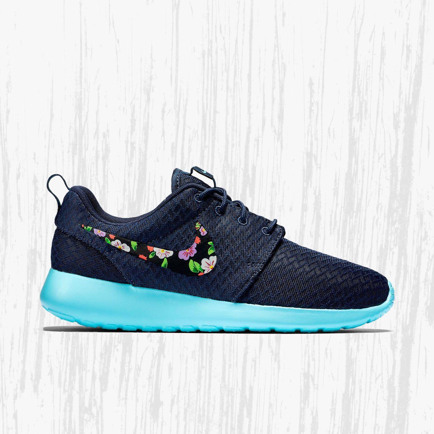 Nike Roshe Custom Floral design, Hand painted floral, lilac