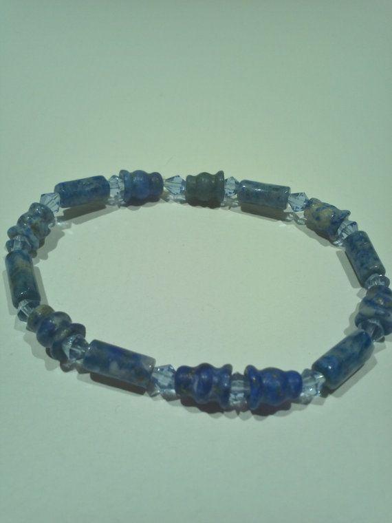 Blue Lapis Lazuli with Swarovski Crystals by TrinityGio on Etsy, $25.00
