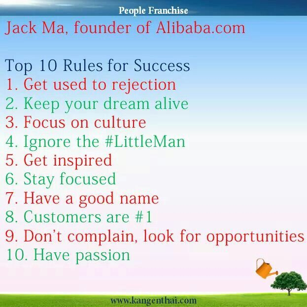 Top 10 Rules For Success Jack Ma Kangenthai Enagic Power Of