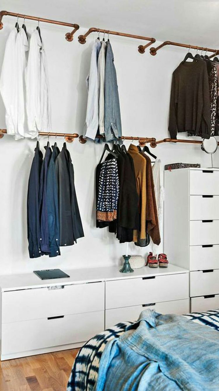 Open Closet Inspiration To Keep Your Wardrobe Super Organized In 2020 Bedroom Storage Ideas For Clothes Hanging Clothes Racks Wall Mounted Clothing Rack