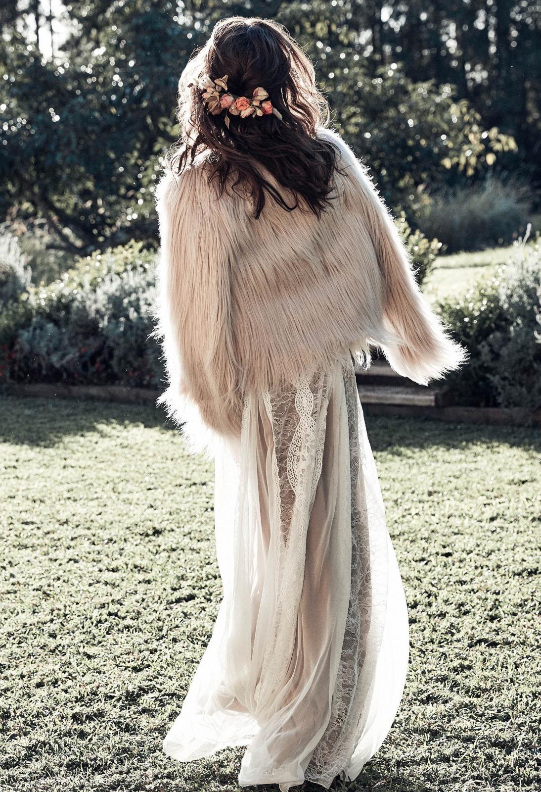 Fur wedding dress  Unreal Dream Faux Fur Jacket  Pinterest  Fur jacket Lace wedding