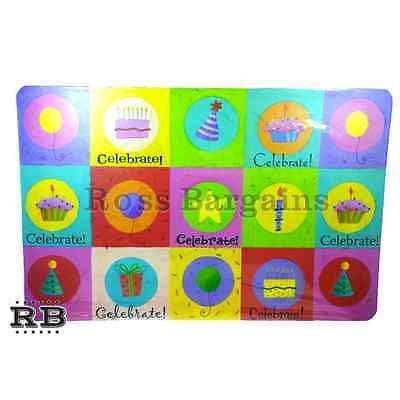 NEW 17 x 11 4-Piece Reusable Durable Plastic Birthday Party Kids Table Placemats