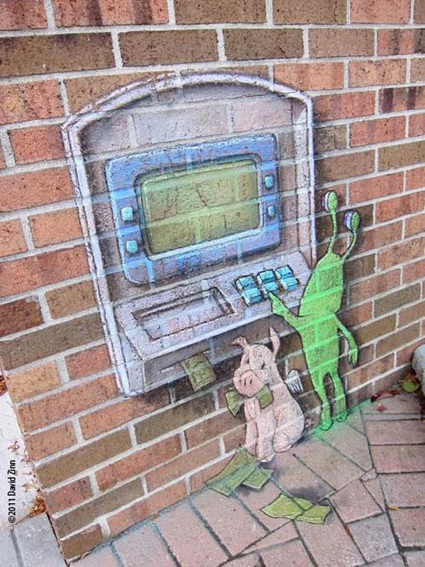 No need to keep your street 'art' on the sidewalk only. Check out this building art!