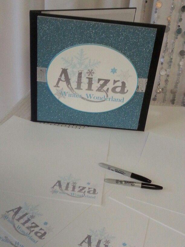 Winter Wonderland Theme Sign In Book #signinbook #batmitzvah #winterwonderland #cleveland #cle www.whimzeyllc.com