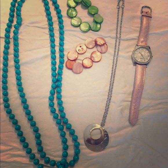 Jewelry bundle! 5 pieces all together! Watch needs a battery.  OPEN TO OFFERS! Jewelry Necklaces