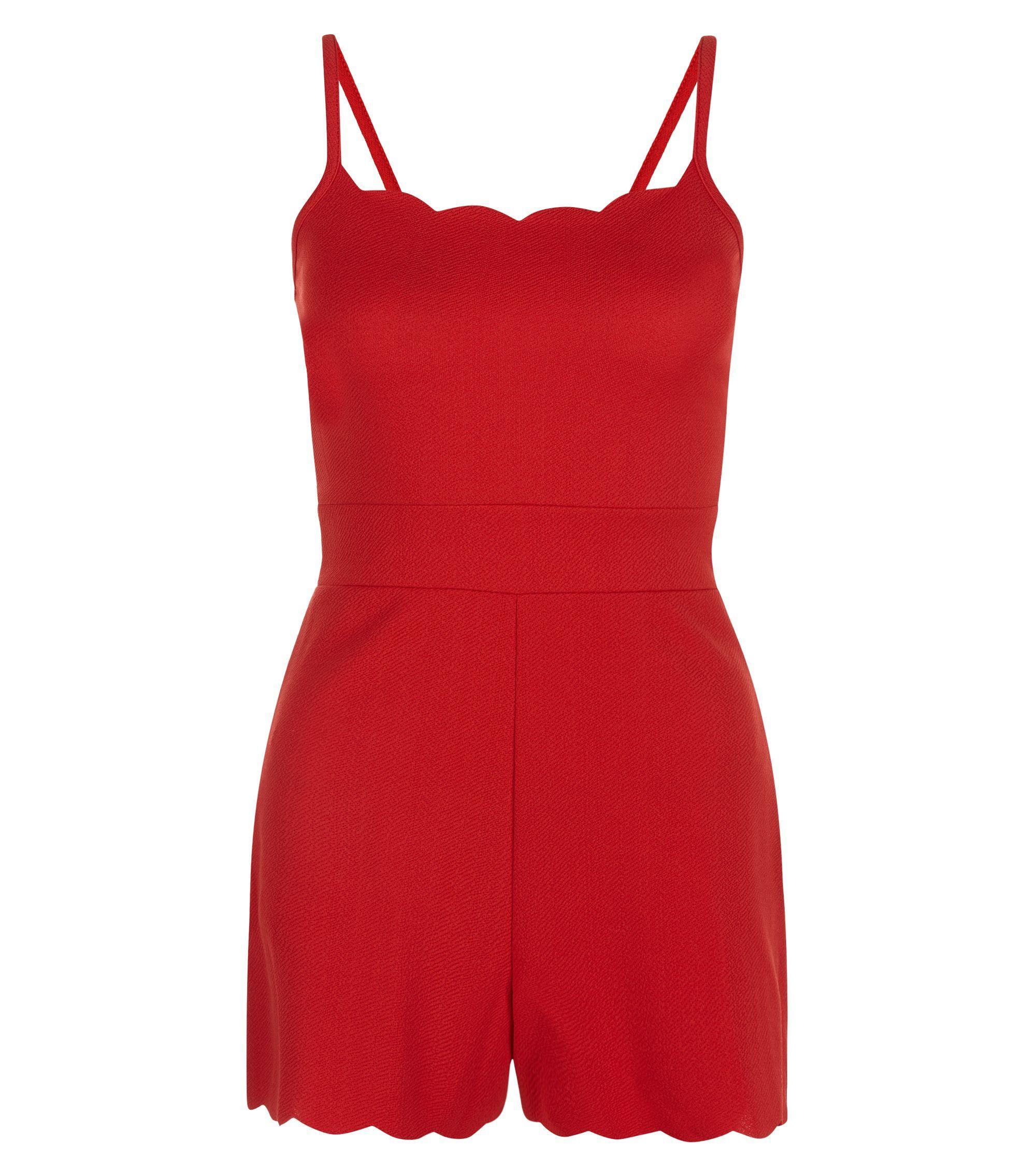 Combi-short Petite rouge à bordures festonnées | New Look