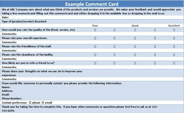 Free Customer Comment Card Template Card Template Rack Card Templates Free Printable Card Templates