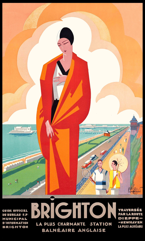 1921 brighton english seaside resort travel poster by