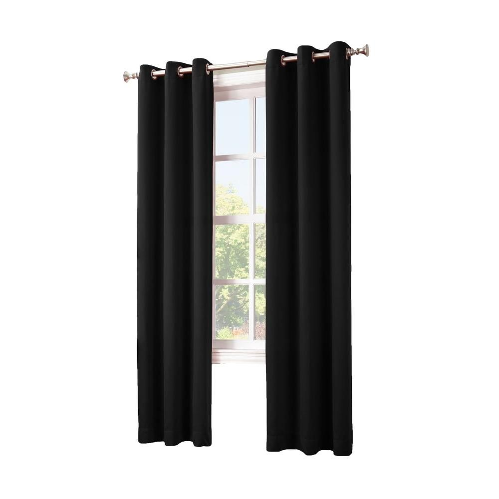 Sun Zero Blackout Gavin 84 In L Blackout Curtain Panel In Black