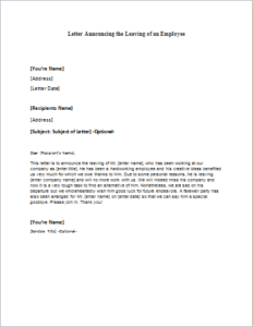 Employee Workplace Leaving Announcement Letter Download At Http