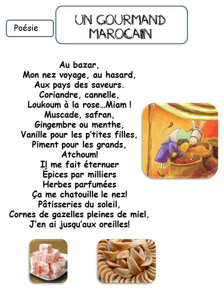 Poésie Le Gourmand Marocain Laclassedecorinne