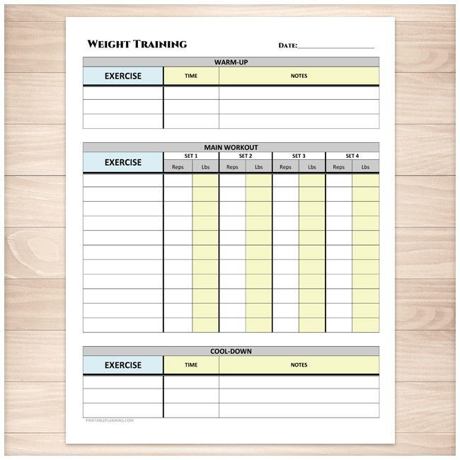 Weight Training Daily Log with Warm-up and Cool-down - Printable - workout tracking sheet