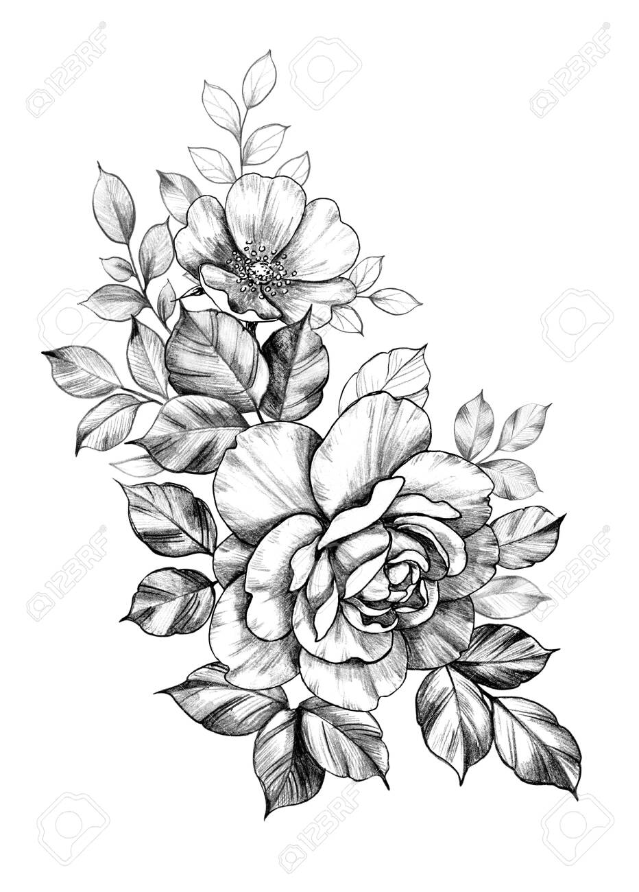 Hand Drawn Bunch With Big Rose And Dog Rose Flowers Isolated In 2020 Beautiful Flower Tattoos Floral Tattoo Design Floral Tattoo