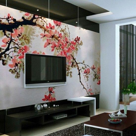 Ideen für Wohnzimmer-Wohnwand Design mit Fernseher-Schrank-Led - wohnideen fürs wohnzimmer