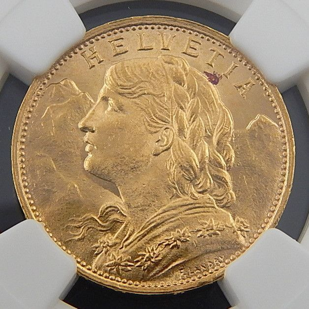 1922 B SWITZERLAND 20 FRANCS NGC MS-65 AUTHENTIC COLLECTIBLE COIN 3353222-005