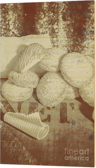 Old cookie tin sign art Wood Print by Jorgo Photography - Wall Art Gallery