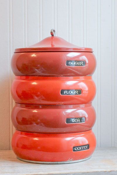 Stacking Canisters Canister Set Vintage Sugar Flour Tea Coffee