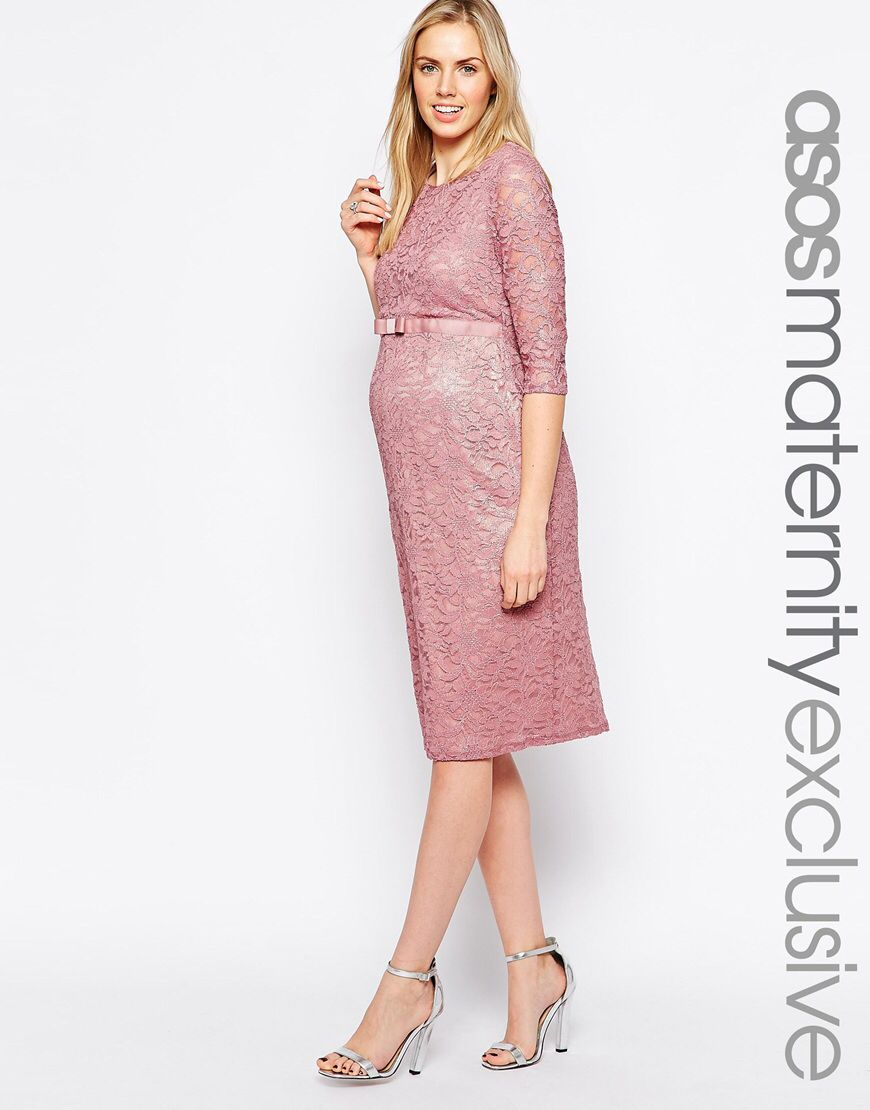 Maternity Lace Body-Conscious Dress With 3/4 Sleeve And Ribbon Detail