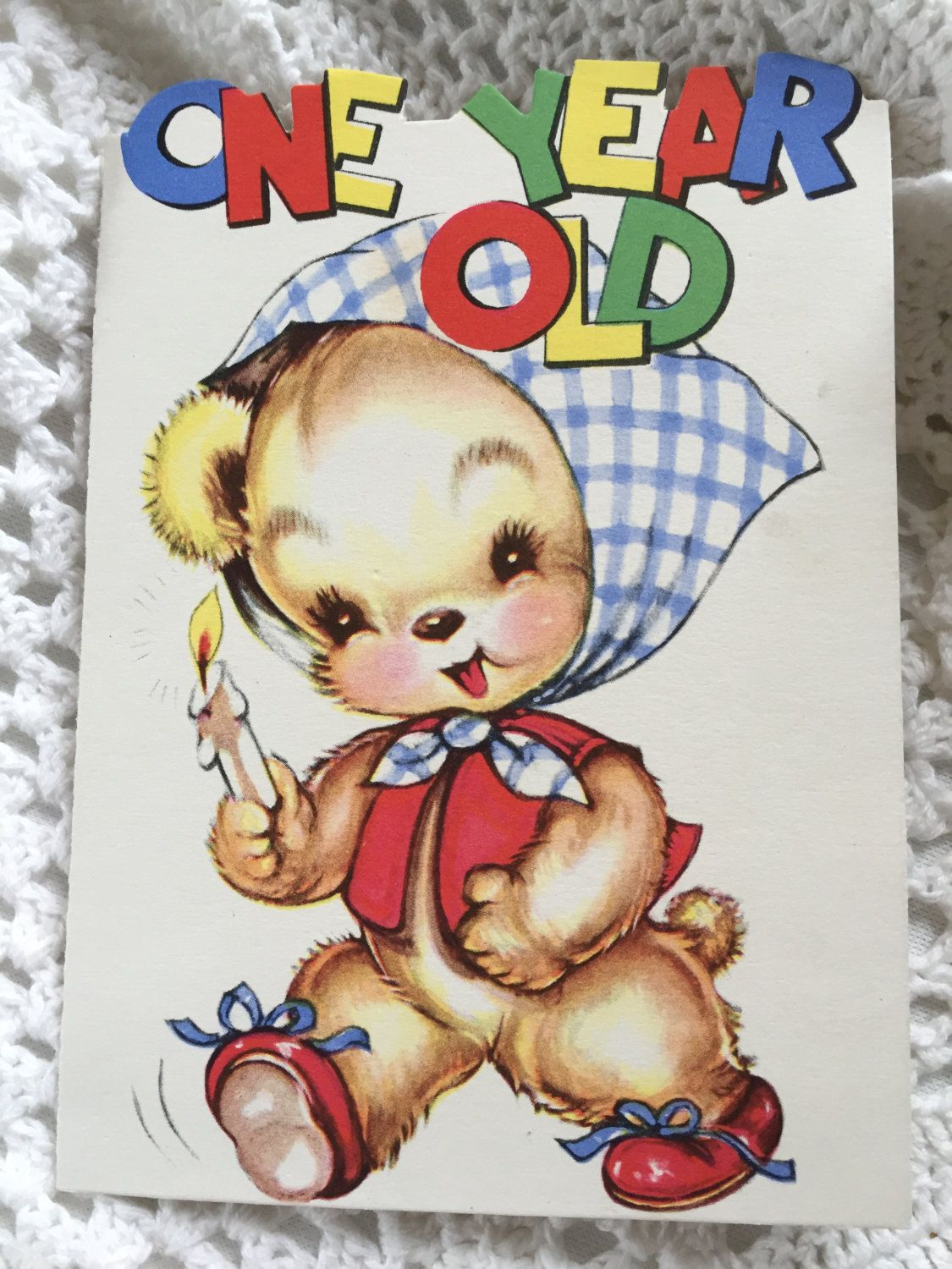 Vintage 1940s bear happy birthday card for one year old die cut vintage 1940s bear happy birthday card for one year old die cut birthday greeting card kristyandbryce Choice Image