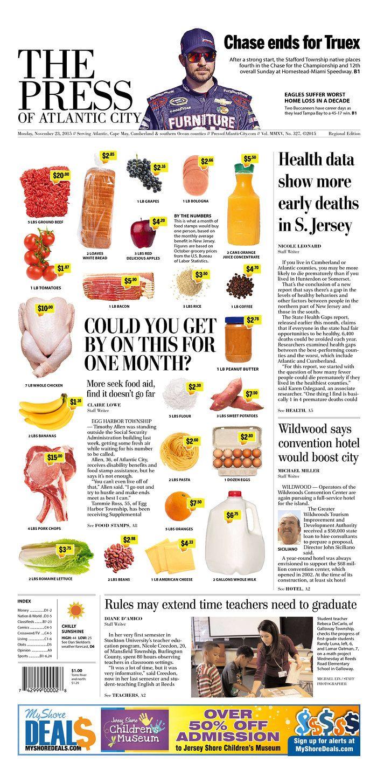 The Press Of Atlantic City 11 23 15 Via Newseum Newseum Atlantic City Newspaper Layout