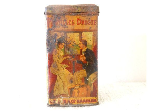 French belle epoque art nouveau metal box - advertising home decor - early 20th clothes, man, woman. $34.00, via Etsy.