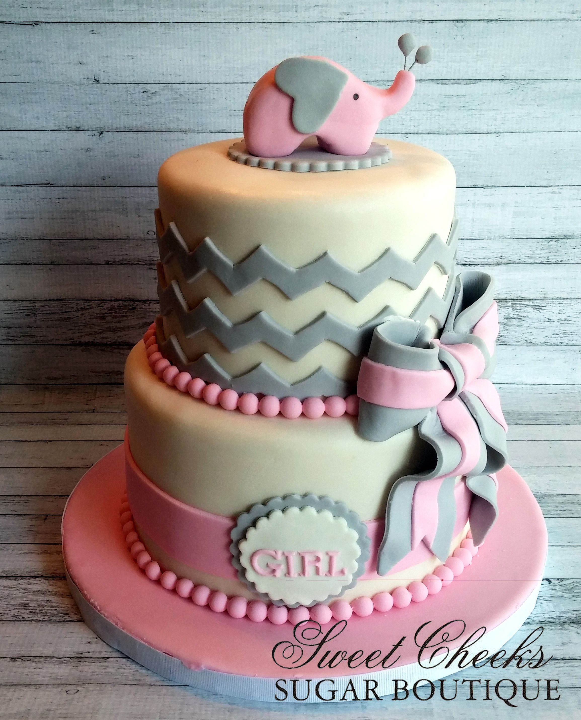 A Pretty Pink And Gray Baby Shower Cake W/ Pink Elephant Topper!