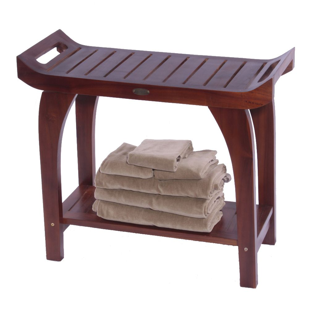 Asia Teak Shower Bench Style With Arms And Shelf Extended Height