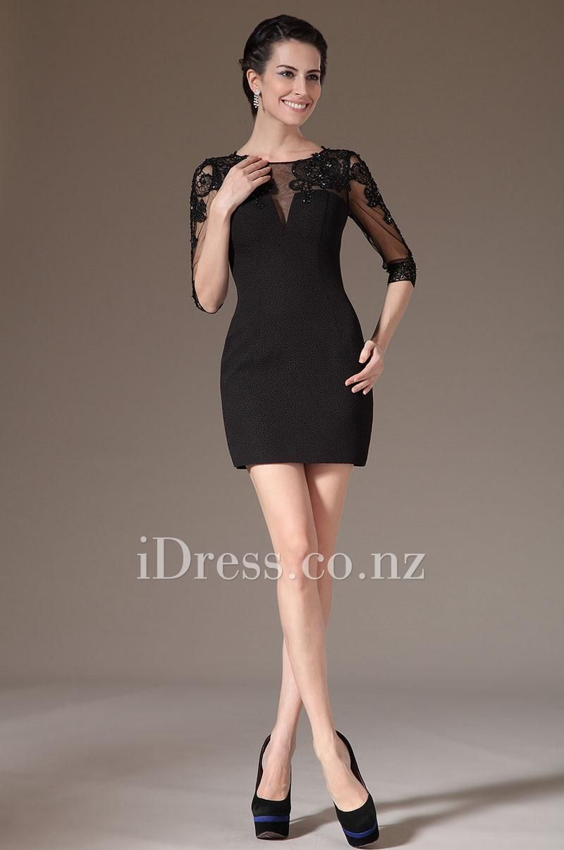 Black Illusion Short Cocktail Mesh Dress with Three-quarter Sleeves ...