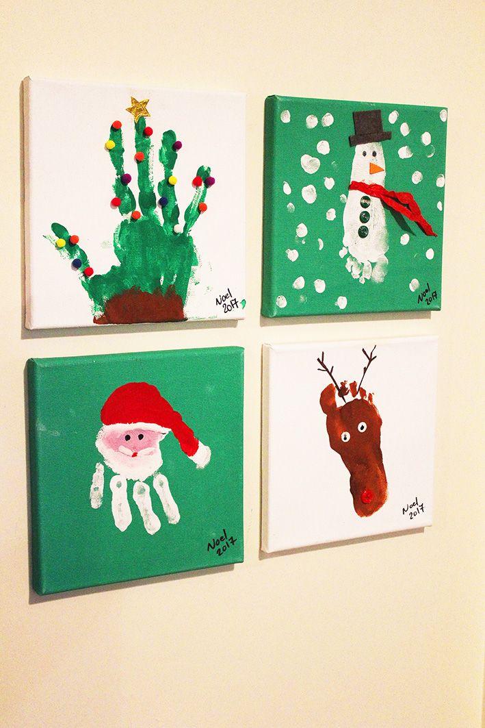 Handprints and footprints for Christmas keepsakes