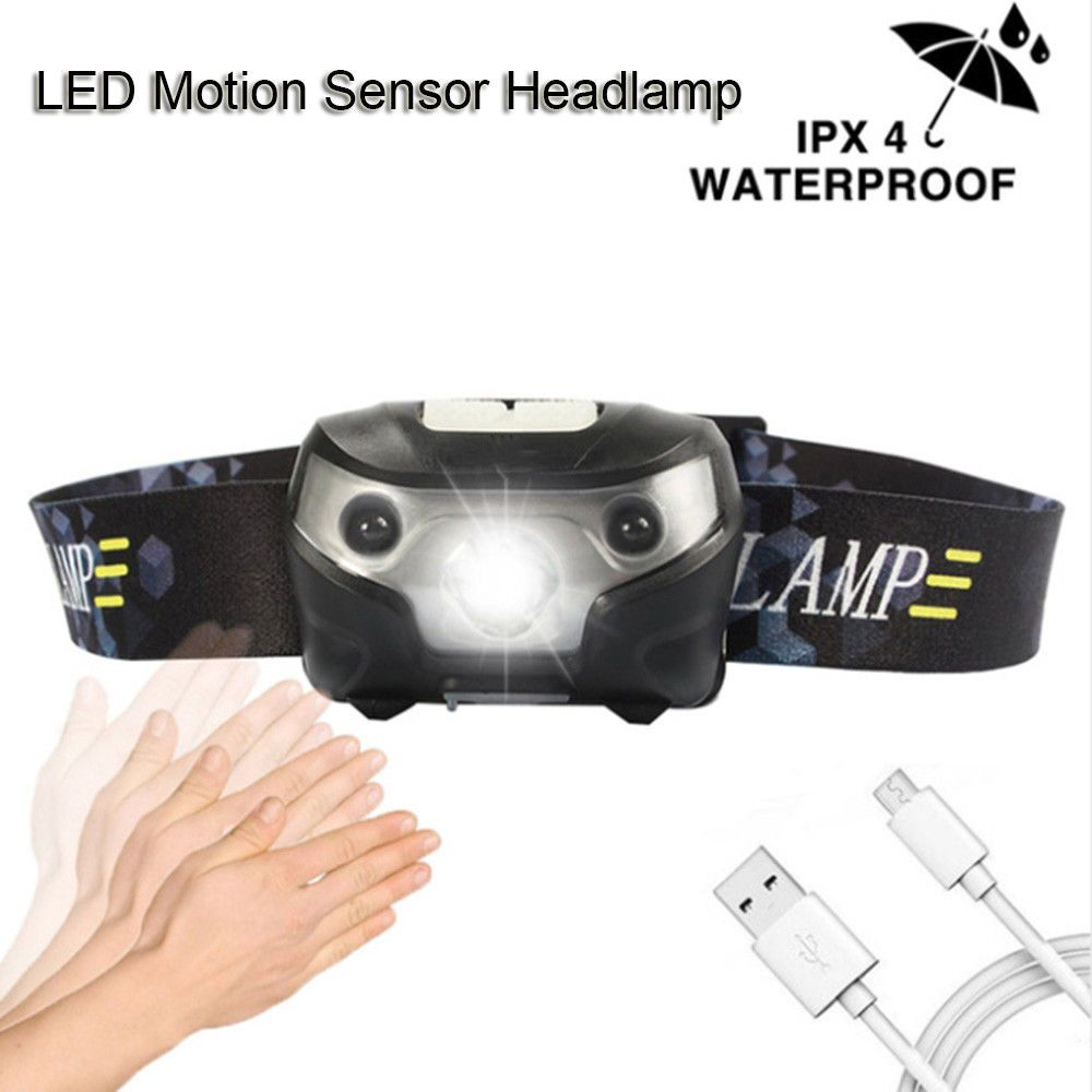 3000 Lumens Usb Rechargeable Led Headlamp Body Motion Sensor