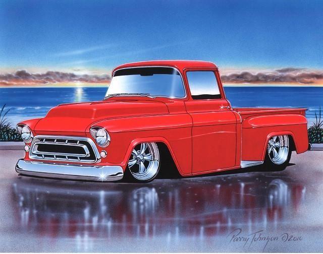1957 Chevy 3100 Stepside Pickup Classic Truck Art Print 11×14 Poster