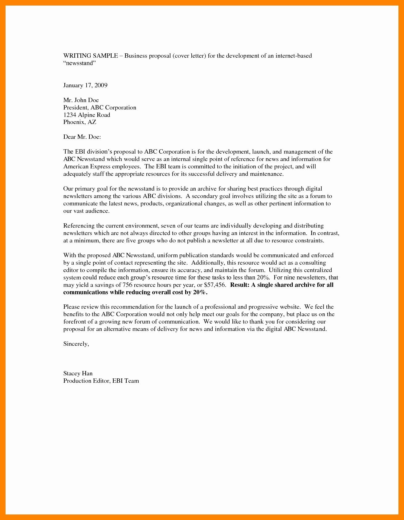 23 Business Cover Letter Proposal Cover Cover Letter For