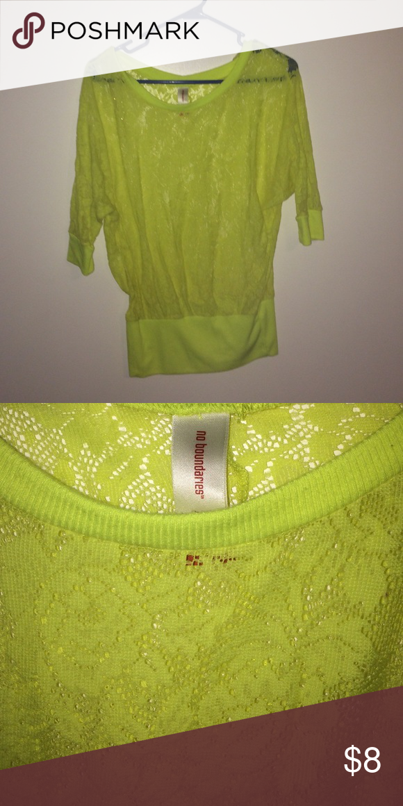 Neon lace top Three quarter length sleeve. Lace detail. No Boundaries Tops Blouses