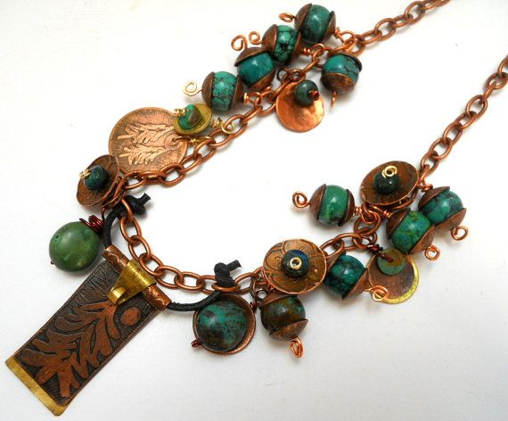 Artisan Handcrafted Hand forged/ Etched Copper by jewelrybyDebra, $104.85
