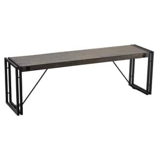 Peachy Cortesi Home Thayer Black Grey Driftwood Bench With Metal Alphanode Cool Chair Designs And Ideas Alphanodeonline