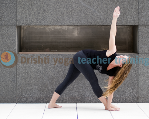 revolved triangle yoga pose adjustments parivrtta
