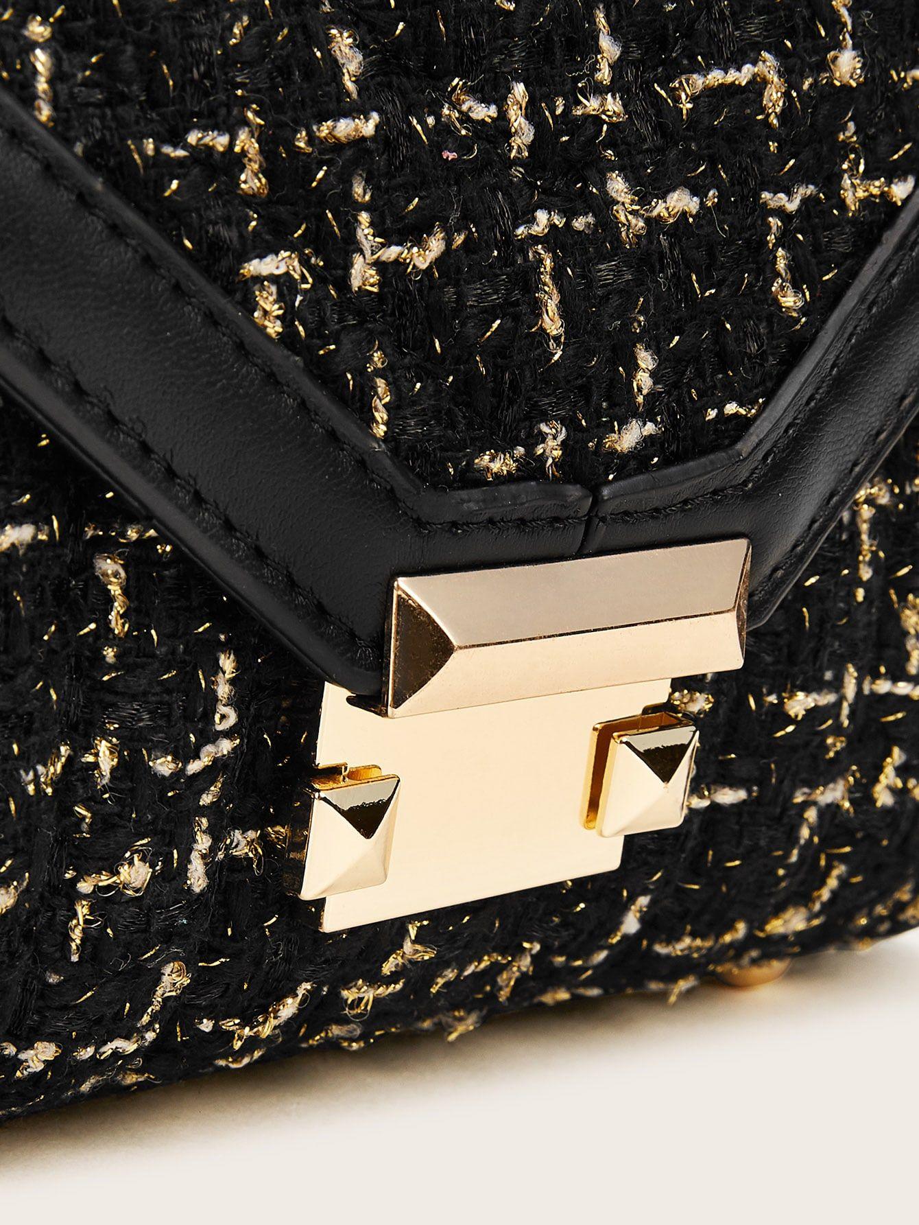 Metal Lock Tweed Chain Bag