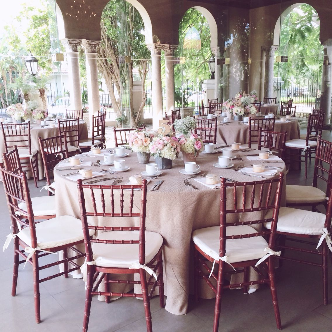 Our Mahogany Chiavari Chairs Set Up For Today S Special Rustic Vintage Shower Chairsforrent Chi With Images Floral Centerpieces Urban Modern Wedding Rustic Centerpieces