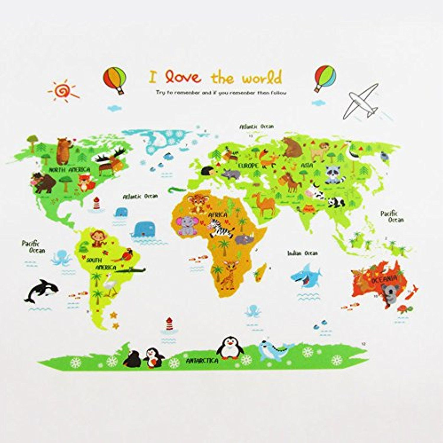Toonol colorful world map wall sticker decal vinyl animal cartoon cheap posters uk buy quality decorative art posters directly from china posters writing suppliers colorful world map wall sticker decal vinyl animal gumiabroncs Choice Image
