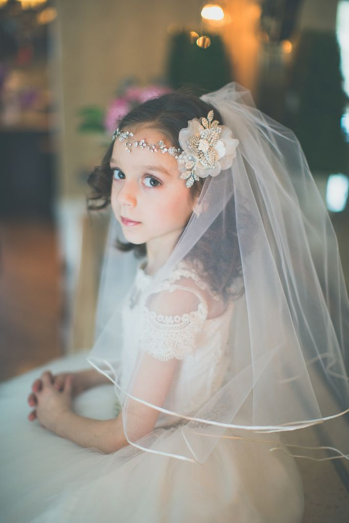 Flower Girl Or First Communion Headpiece And Veil