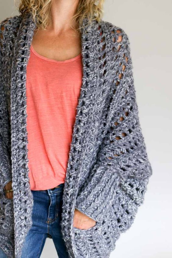 c1f1cdd4b28c2d How to crochet a sweater video tutorial. Make this chunky grey crochet  sweater with pockets--free pattern from Make and Do Crew. (The Dwell Sweater )