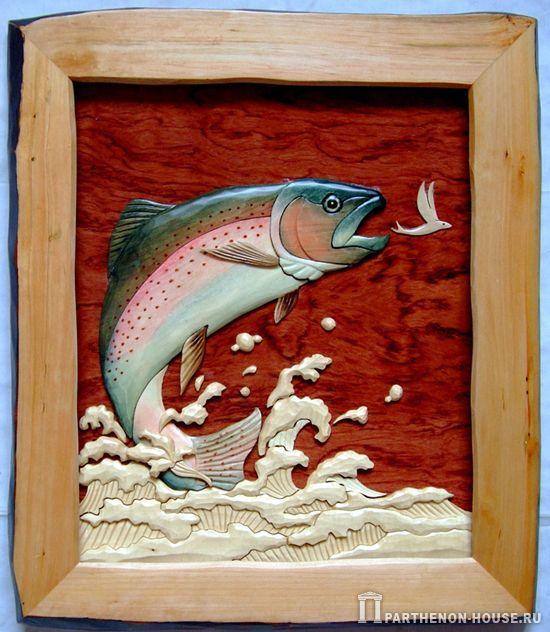 Интарсия. Картина из дерева – рыба.
