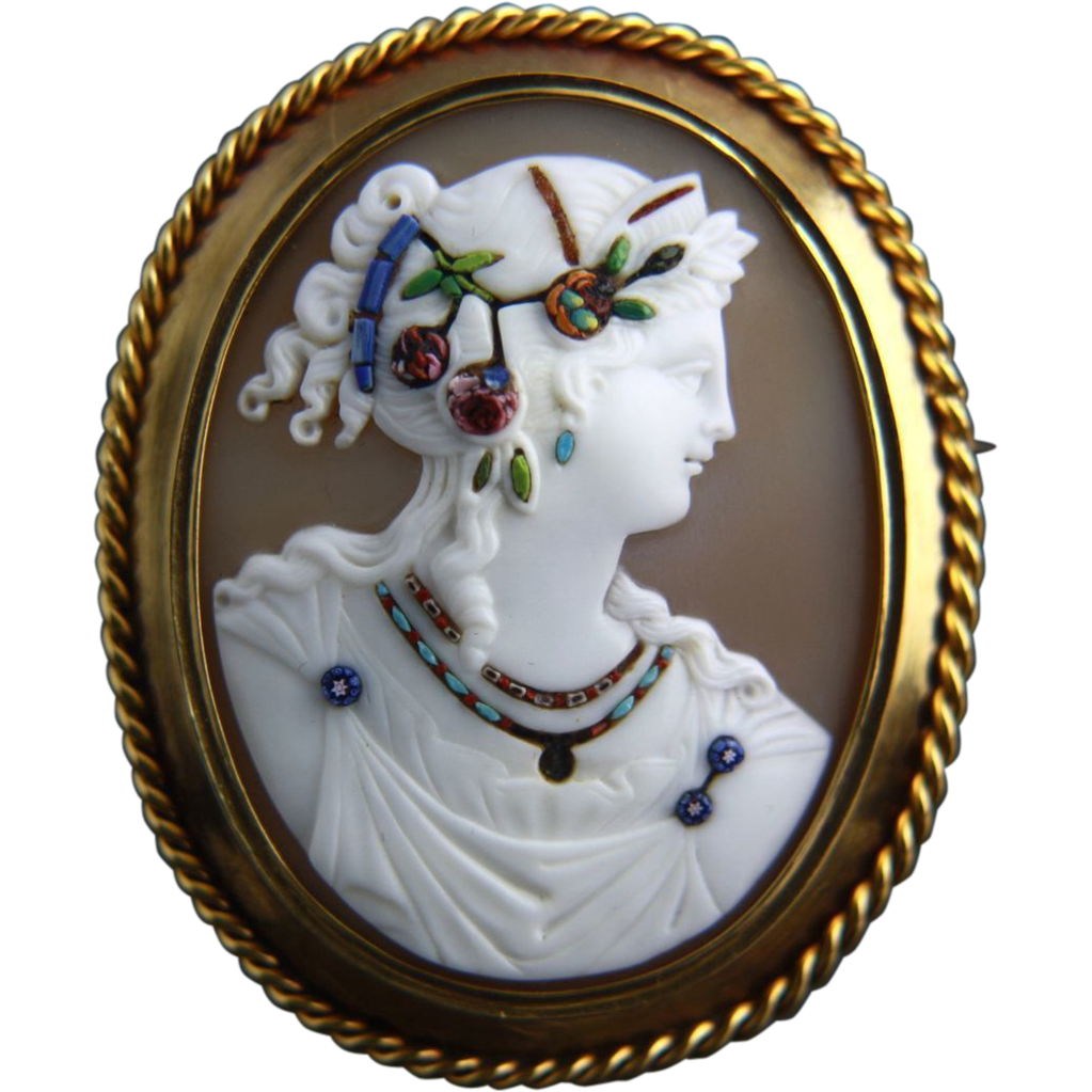 Rare Extra Large Victorian Micromosaic Commesso Cameo