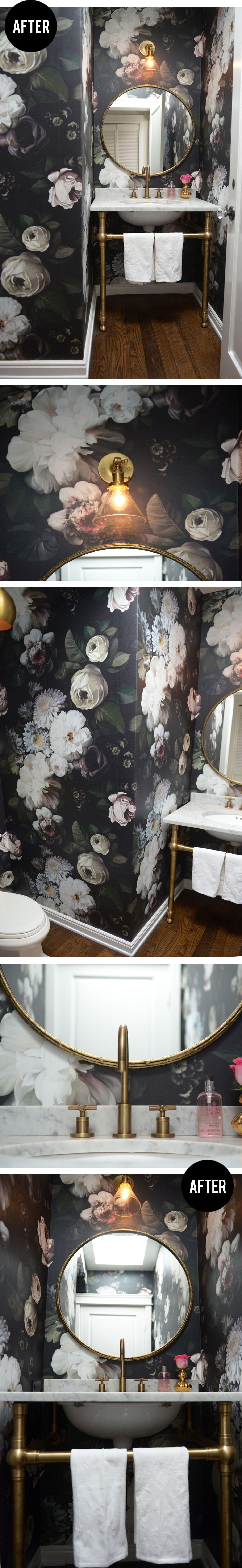 powder room update // dark floral wallpaper & brass fixtures #bathrooms