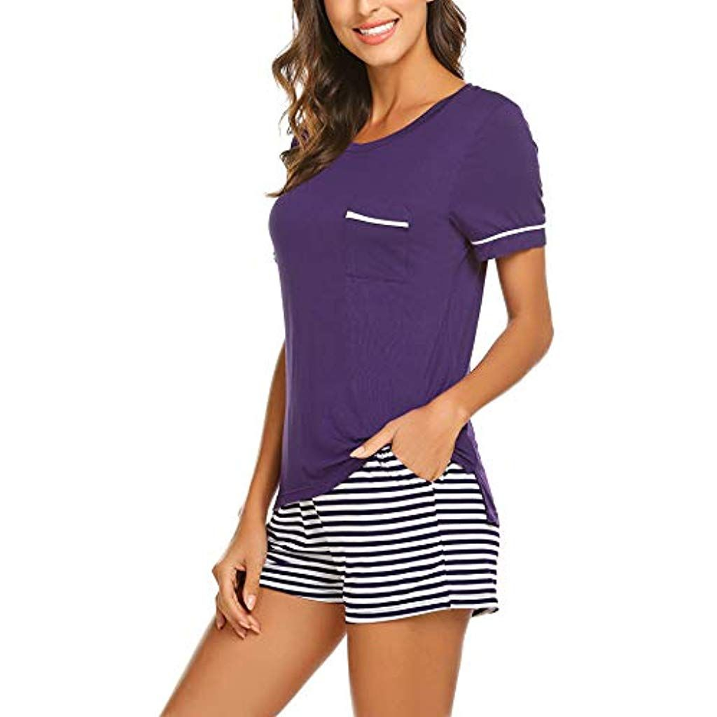 3754b1f6bb UNibelle Damen Pyjama Schlafanzug Baumwolle Kurz Nachtwäsche Nachthemd  Hausanzug Kurzarm V Ausschnitt für Sommer