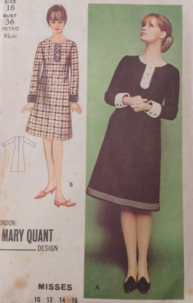 60s Vintage Retro Butterick Sewing Pattern Mary Quant London Mod ...