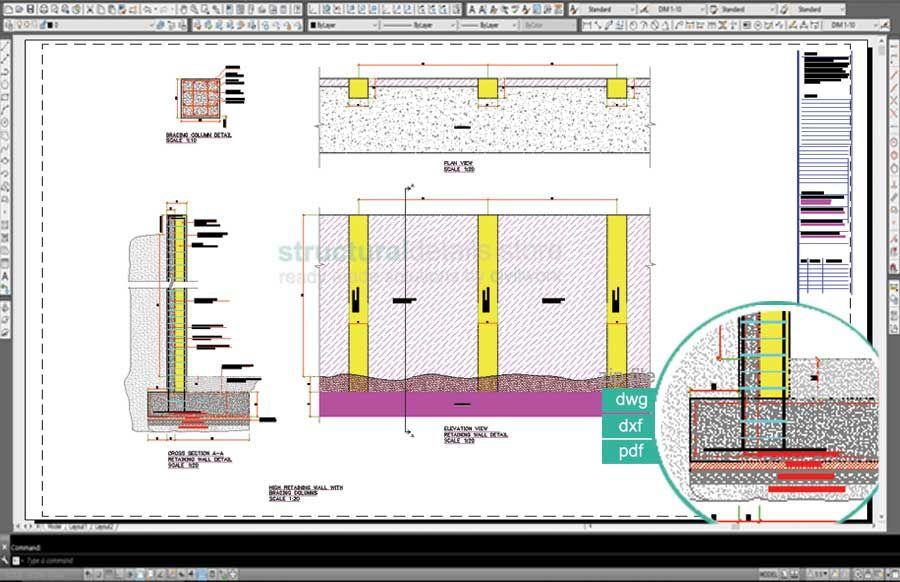Reinforced Concrete Retaining Walls Bundled Drawing Details Concrete Retaining Walls Retaining Wall Reinforced Concrete