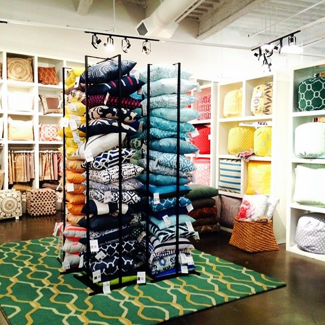 Throw Pillow Display Rack : Utilizing the Surya Pillow Tower display in our #LVMkt showroom! Each tower holds up to 20 Surya ...