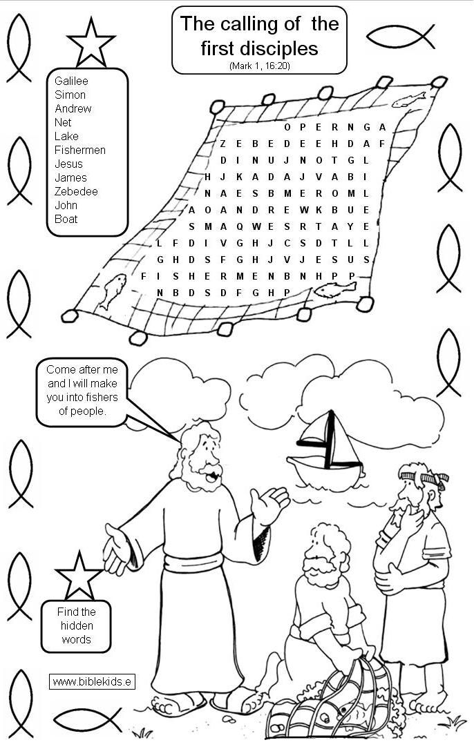 First disciples of Jesus coloring pages |Jesus Calls His Disciples ...